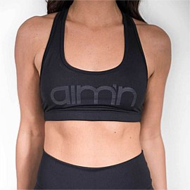 Black Reflective Logo Bra