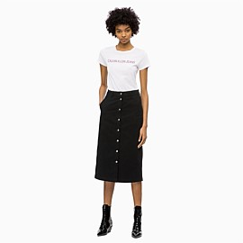 CK Midi Button Through Skirt