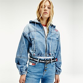 Hooded Cropped Denim Jacket