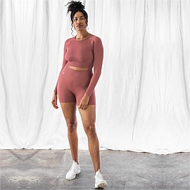 Pink Beat Ribbed Seamless Crop Long Sleeve