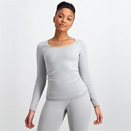 Light Grey Melange Ribbed Seamless Long Sleeve