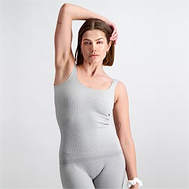 Light Grey Melange Ribbed Seamless Singlet
