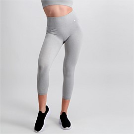 Light Grey Melange Ribbed Seamless 7/8 Tights